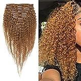Kinky Curly Extensiones de Pelo Natural Afro Para Mujeres Negras 8 Piezas 18 Clips Cabello Rizado Double Weft Gruesa -20cm, 95g, 27 Rubio Oscuro