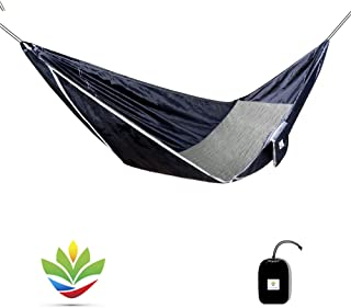 Hammock Bliss Sky Bed - Hangs Like A Hammock, Sleeps Like A Bed - Unique Asymmetrical Design Creates An Amazingly Flat and Insulated Camping Hammock - Integrated Suspension 100