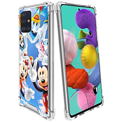 Lopiuwy Compatible con Samsung Galaxy A51 5G 6.5' Slim Slim Slim Slim Cover Resistente a los arañazos, lindo anime de dibujos animados moda ligero Mickey Mouse y Donald Duck