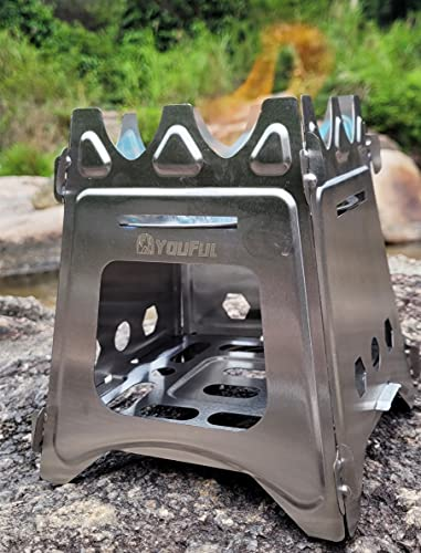 Youful Compact Collapsible Camping Stove – Stainelss Steel Stoker Flatpack Stove for Hiking and Backpacking, Easy Carry and Assemble, Twig, Stick, or Wood Burning