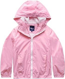 Hiheart Boys Girls Summer Lightweight Hooded Jackets Water Resistant Raincoat