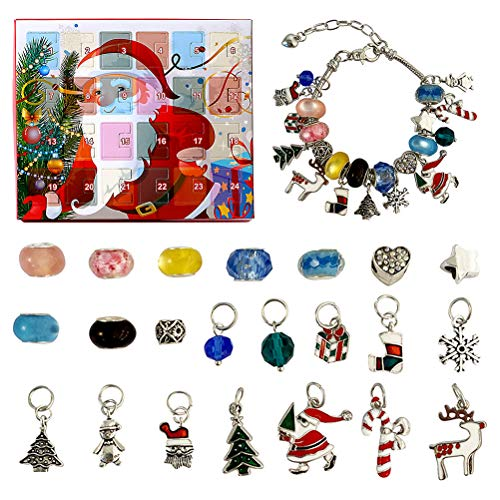 WBTY Advent Calendar 2020 Christmas Countdown Calendar Christmas DIY Charm Bracelet Making Kit Including 2 Bracelets 22 Charms Beads