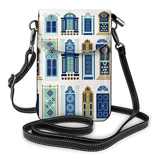 Marokkaanse deuren blauw & goud palet kleine Crossbody zakken Crossbody mobiele telefoon portemonnee - Vrouwen PU lederen handtas met verstelbare riem voor dagelijks leven