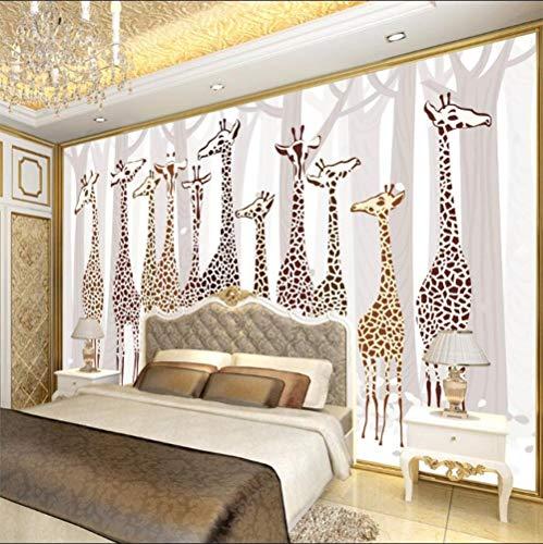 Looaceo Foto Póster 3D Fondo De Pantalla Mural Papel Pintado Foto Decoración Para El Hogar Sala De Estar Dormitorio Jirafa Bosque Fondo Mural 3D Tv Fondo 3D Papel Tapiz(W)400X(H)280Cm