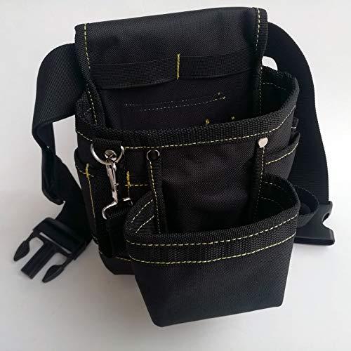 Copechilla bolsa herramientas negro profesional con cinturón cómodo ensanchamiento ajustable,Fuerte y resistente al desgaste, Material nailon grueso doble capa,Soporte carga 10 kg,hogar o profesional