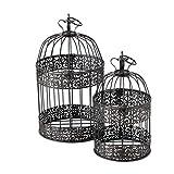 CasaJame Casa Arredamento Decorazione Accessori Design Set di 2 Gabbie per Uccelli Decorative Stile Shabby Chic Vintage Ferro Marrone Scuro Altezza 26/35 cm Ø 15/19 cm