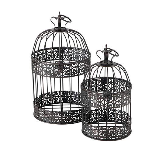 CasaJame Hogar Muebles Decoración Accesorios Adornos Design Juego de 2 Jaulas Decorativas para Pájaros Shabby Chic Vintage Style Marrón Oscuro Altura 26/35 cm Ø 15/19 cm