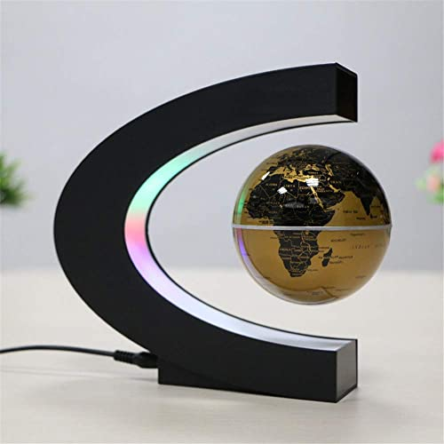 Globus Karte Globus, Magnetschwebebahn Floating World Map Globus mit LED-Leuchten zum Lernen Bildung Lehre oder Schreibtisch Dekoration (C-Form + Globus) (Farbe   Braun)