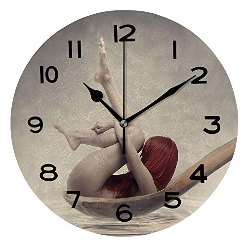 AmaUncle 10 Inch Round Face Silent Wall Clock Beauty Bath. Beautiful Red Haired Woman in Wooden Spoon Bathing in Milk Unique Contemporary Home and Office Decor SW123677