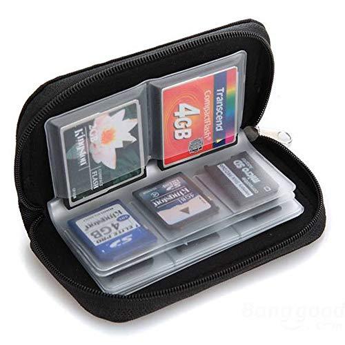 Colorful Speicherkarten-Tasche, Speicherkarten Aufbewahrung Tasche Schutzhüllen mit Reißverschluss 18 Schlitze für SD SDHC MMC CF Micro SD Karten,Schwarz