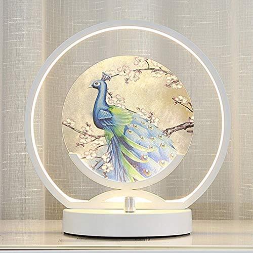 Manuelles Dimmbare LED-Lampe Chinesischer Nachttisches Schlafzimmer warm kreativ romantische Wohnkultur schreibtisch lampe (White)