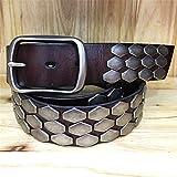 JenLn Cinturón con tachas Accesorios de Escala Cinturón Hebilla de alfiler Hombres y Mujeres Cinturón de Cuero Cinturón Cinturón Punk Unisex (Color : Brown, Size : 125cm)
