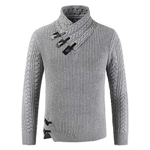 FULUN Chaqueta de punto para hombre de color sólido Slim Fit Suéter de los hombres de manga larga botones de cuello alto de algodón y lino abrigo de invierno chaqueta de punto sudadera suéter
