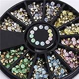 Uñas Postizas Puntas De Uñas 1 Caja 3D Nail Art Rhinestones Glitters Acrílico Rhinestones Para Uñas Manicure Nail Art Decoration In Wheel-09