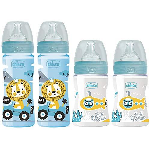 Chicco Antikolik Flaschen Set in blau, Anti-Colik Babyfläschchen 4er Pack ab Geburt bis 6 Mo.