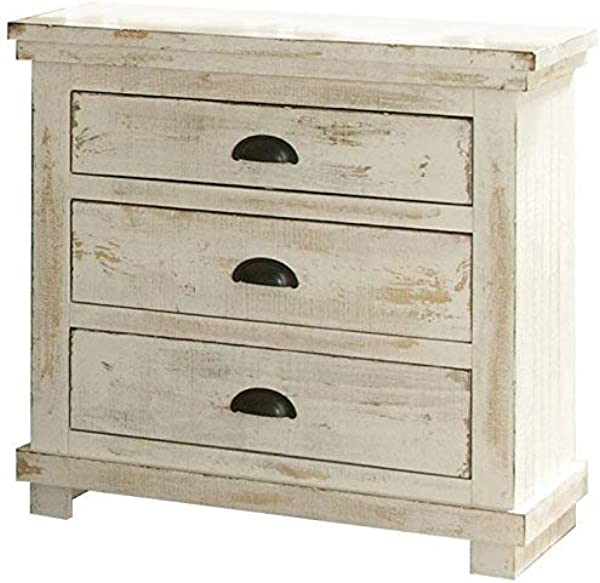 渐进式家具柳树床头柜仿旧白色 32X17X31