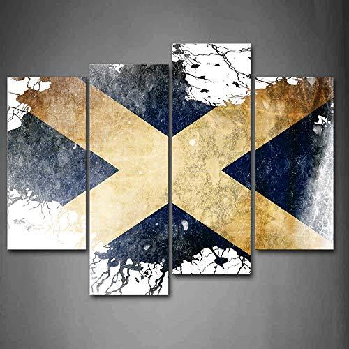 BIHUAHE Flagge von Schottland in Weiß und Blau Wandkunst Malerei Bilder Druck auf Leinwand Kunst Das Bild für Zuhause Moderne Dekoration
