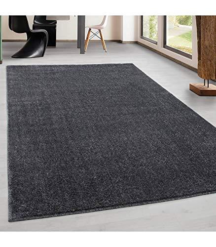 Teppich Kurzflor Modern Wohnzimmer Einfarbig Meliert Uni günstig Versch. Farben - Grau, 80x150 cm
