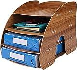 4 Tier Aus Holz Desktop-Office-Dokument-Behälter-Halter, A4 File Folder Rack-Papier Dokument...