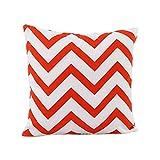 Fablcrew Housse de coussin Wave Lin Coton Taie d'oreiller Taie d'oreiller pour Jeté de Canapé Home Decor, Toile, Orange, 40 x 40 cm