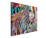 XXL Fotoleinwand 120x80cm Ölgemälde – Farbenfrohe Frau mit Traumfänger auf Leinwand exklusives Wandbild moderne Fotografie für ihre Wand in vielen Größen