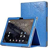 for Google Pixel C 2015 10.2 inch Tablet Belt Cover, Ultra Slim Folio Stand Armband Function Protective Leather Case +1x Soft Clear Screen Protector (2-Blue)
