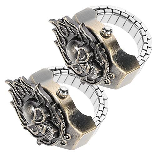 Abaodam 2 Piezas Reloj Digital con Anillo Reloj Decorativo Punk Skull Finger Quartz Reloj de Joyería para Mujeres Y Hombres Regalos