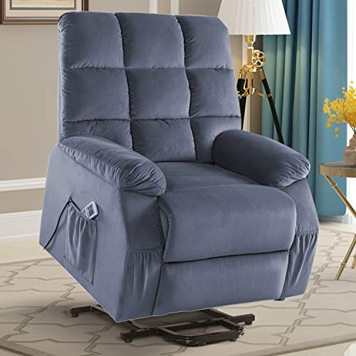 Electric Lift Recliner Chair, Power Heated Massage Reclining Sofa Chairs with Remote Control, Heated System, Lift System, Adjustable Headrest, Extended Legrest and Side Pocket for Elderly, Gray