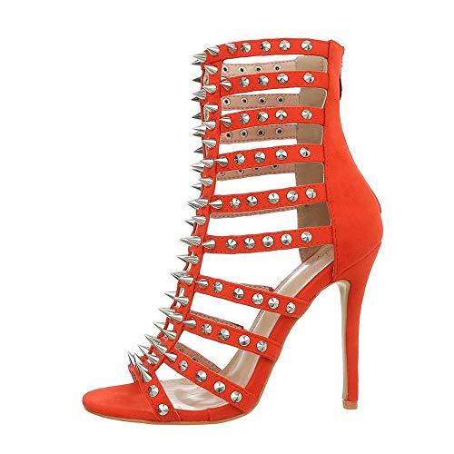 Ital-Design Damenschuhe Sandalen & Sandaletten High Heel Sandaletten Synthetik Rot Gr. 39