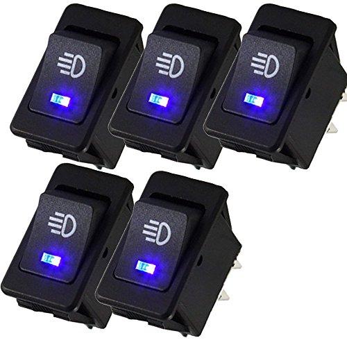 Mintice™ 5 X 12V 30A moto veicolo auto blu fendinebbia LED del pulsante luce interruttore a levetta On Off SPST 4Pin