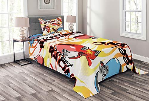 ABAKUHAUS Voiture de Course Couvre-Lit, Street Racing Lettrage, pour Le Salon, 170 x 220 cm, Multicolore