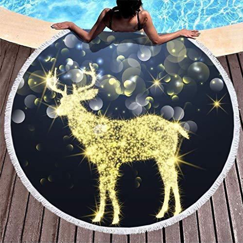 Dofeely Sparkle Christmas Deer patroon sneldrogend zacht strandkleed handwerk kwast wandtapijt tapijt zomer strand mat tapijt handgemaakt kwastje sjaal nieuw jaar polyester 150x150cm