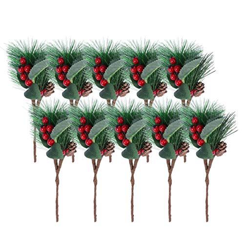 VOSAREA 10 Piezas de Rama de Pino Artificial Navidad Bayas Rojas para Navidad