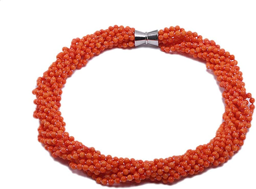 JYX Coral Necklace 5.5mm Nine-strand Orange Round Beads Coral Opera Necklace 25