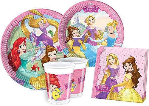 ILS I LOVE SHOPPING Kit Festa Coordinato Tavola Addobbi Party Set Compleanno con 8 Piatti 23cm, 8 Bicchieri e 20 tovaglioli (Principesse Dreaming Princess, Set 8 Persone)