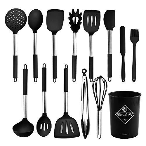 Wekity Juego de utensilios de cocina de 13 piezas de silicona con soporte, antiadherente, con mango de acero inoxidable, espátula, tenazas para cuchara (negro)