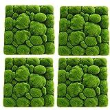 4 piezas 50x35cm Alfombra de hierba de musgo con forma de piedra artificial, Hierba de jardín artificial, Alfombras de pared de hierba de imitación, Alfombra de césped artificial Musgo de césped