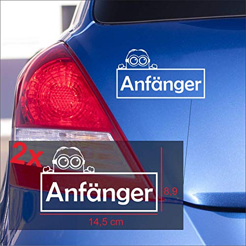 Dr.Shield Fahranfänger Minion Aufkleber Anfänger Autoaufkleber Sticker wetterfest (weiß)