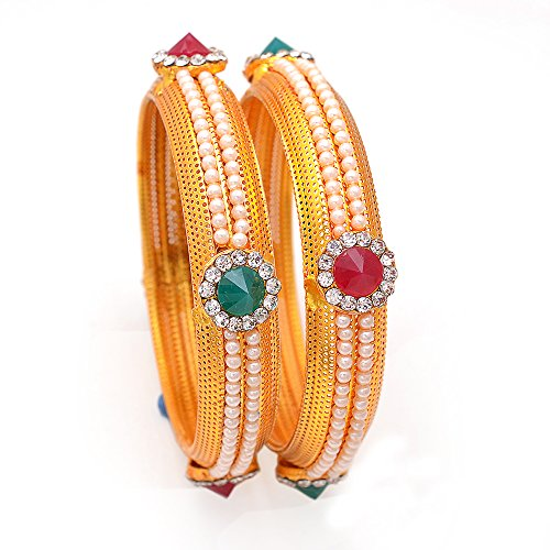 Armreifen Traditionelles Design kundan AD Jade handgefertigt vergoldet multi-stones J...