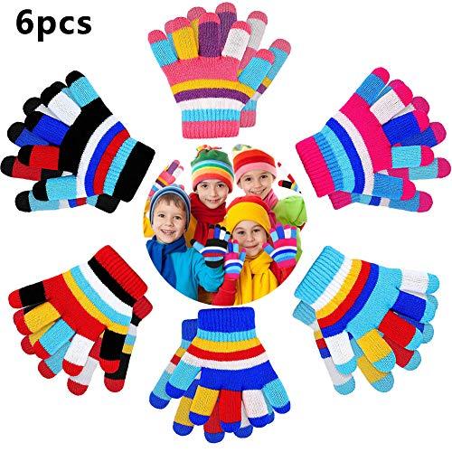 guanti magico BETOY Bambini Guanti Dito Pieno 6PCS Bambini Guanti Invernali a Strisce Lavorate a Maglia Caldo Guanti da dito pieno per bambini(2-7 Anni)