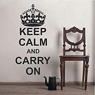 BYRON HOYLE Keep Calm and Carry On Wall Decal Saying Home Crown Sticker Quote Living Room Great Britain England UK Bedroom Removable Vinyl Decal, 26d