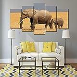 POLLKK 5 Paneles Decoración del Hogar Pintura HD Moderna Cartel Arte De La Pared Elefantes Paisaje Sala De Estar Impreso Lienzo Imágenes