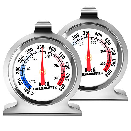 2 Pack Oven Thermometer - Large Dial Kitchen Cooking Thermometer100-600°F Oven Themometer for Electric Oven Instant Read Stainless Steel Thermometer for Gas Oven
