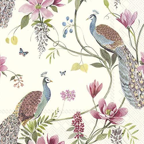 4 servilletas de papel para decoupage – 3 capas, 33 x 33 cm – crema de jardín de pavo real (4 servilletas individuales para manualidades y servilletas).