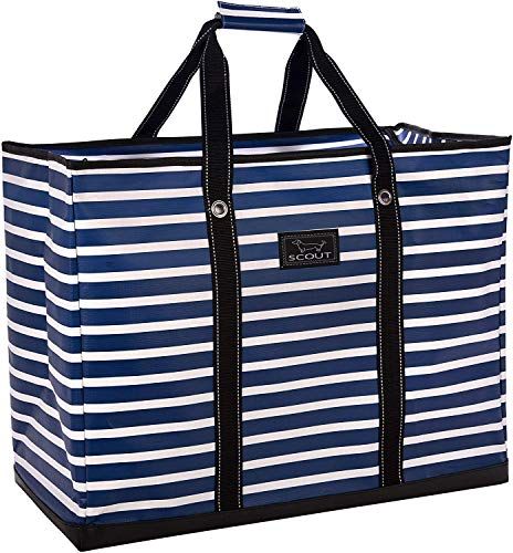 SCOUT 4 Boys Bag, Extra Large Beach Bag with Zipper, Pockets, and Comfort Grip Handles, Lightweight, Water-Resistant Utility Tote Bag in Nantucket Navy Pattern (Multiple Patterns Available)