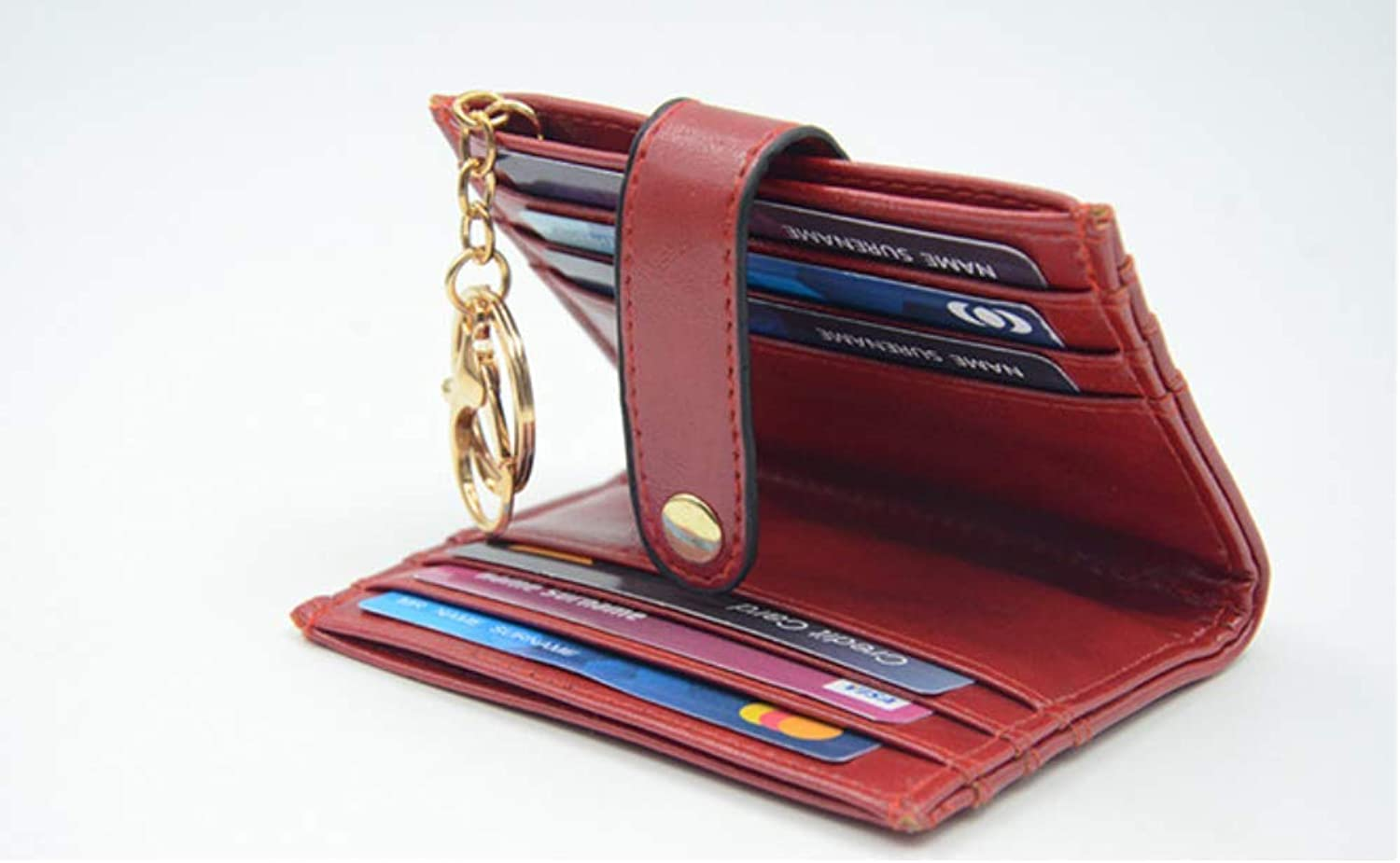 INNC RFID Card Wallet With Key Ring Women's Card Holder Small Bifold Leather Ladies Mini Purse 12 Slots