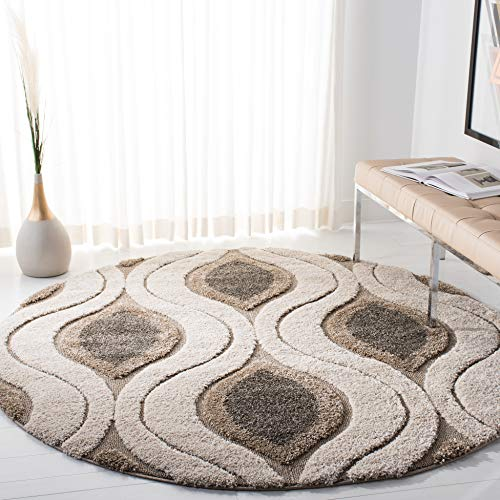 Safavieh Florida Shag Collection SG461-1179 Cream and Smoke Round Area Rug (5' Diameter)