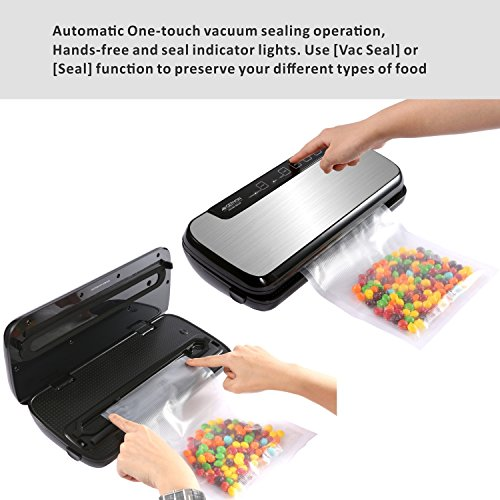GERYON Vacuum Sealer Machine, Professional Automatic Vacuum Sealing System with Stainless Steel Cover for food savers & Sous Vide, Include Starter Bags&Roll, Sliver