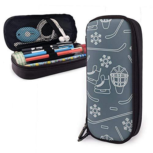 Pencil Pen Case Bag Nahtloses Muster mit Schlittschuhen, Torwartmaske, Hockeyschläger, Eishockey
