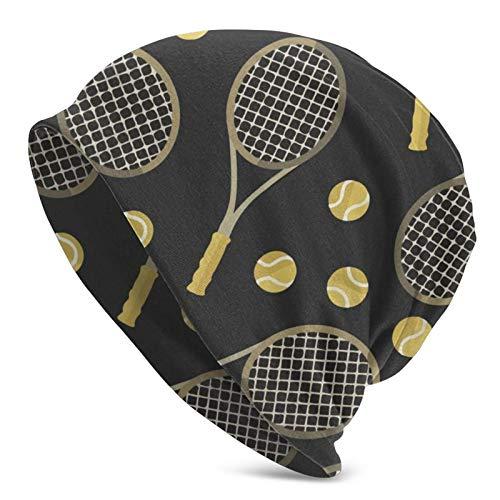 QUEMIN Divertidas Raquetas de Tenis Coloridas y Pelotas de Tenis Cool Beanie Hat Gorras Sombreros Suaves de Punto de Invierno para Mujeres y Hombres